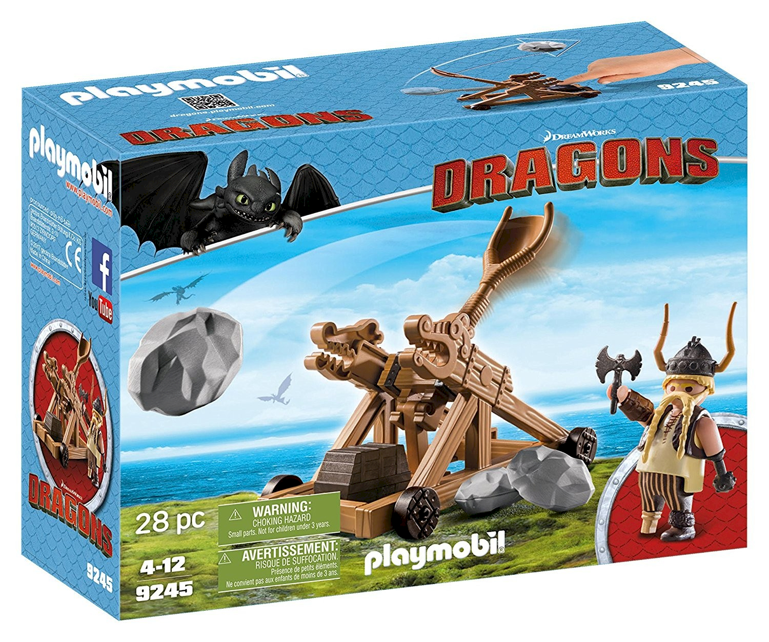 Playmobil Gueulfor avec catapulte Dragons