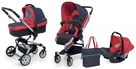 Poussette Trio Supertres Foppapedretti Denim Red