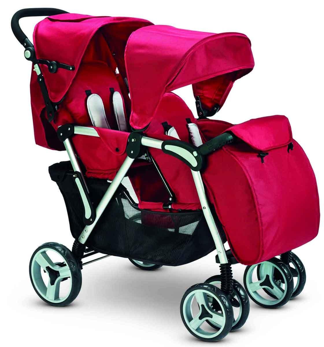 Plebani Zwillingskinderwagen Gemini Rot