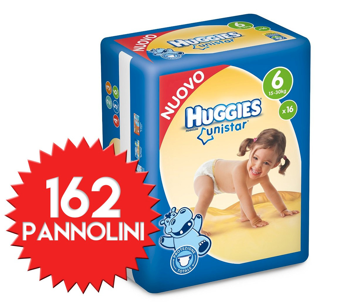 Pannolini Huggies Unistar Misura 6 - 162 pezzi