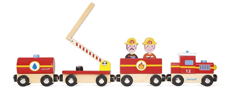 Janod Story Feuerwehr-Zug Holz mit Figuren