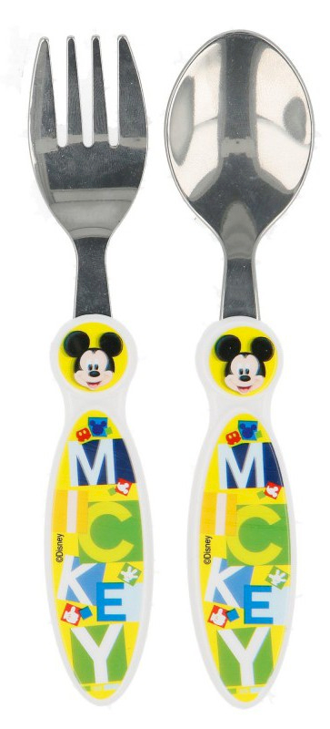 Set 2 Couverts en Acier Mickey Mouse