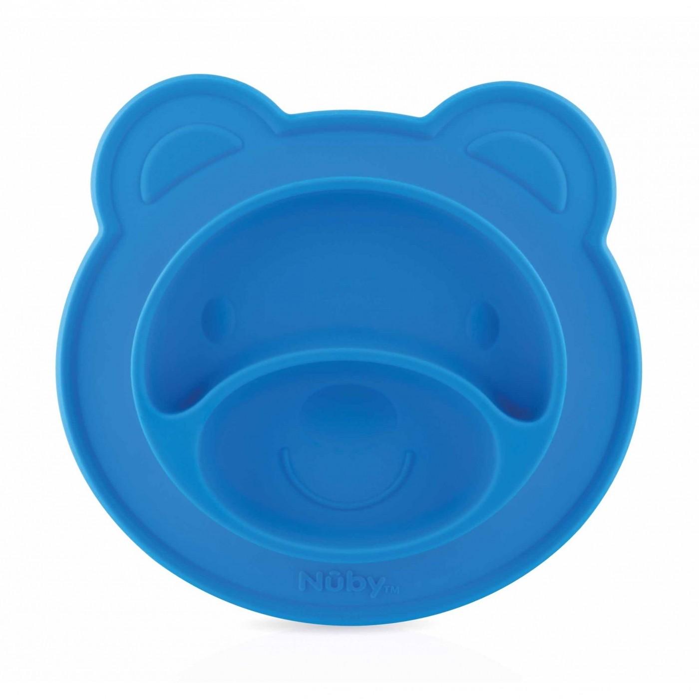 Piatto Ventosa in Silicone Bear Nuby Blu