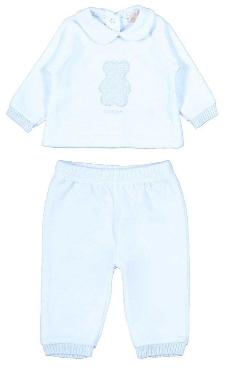 Pyjama 2 pièces avec Ourson - 1 Mois Bleu