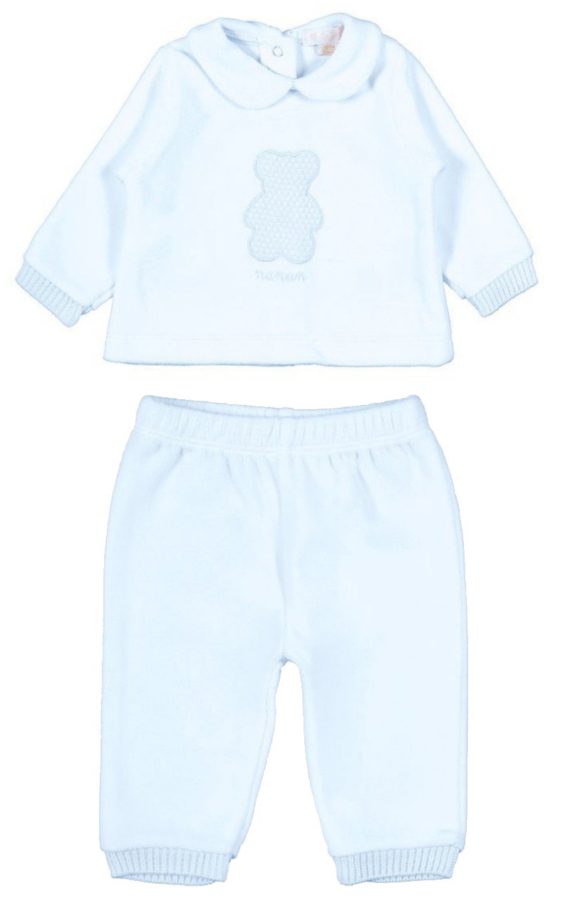 Pyjama 2 pièces avec Ourson - 6 Mois Bleu