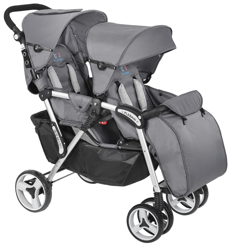Plebani Zwillingskinderwagen Gemini Grey