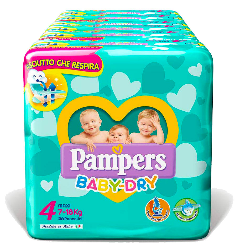 Pannolini Pampers Baby Dry Misura 4 - 190 pezzi
