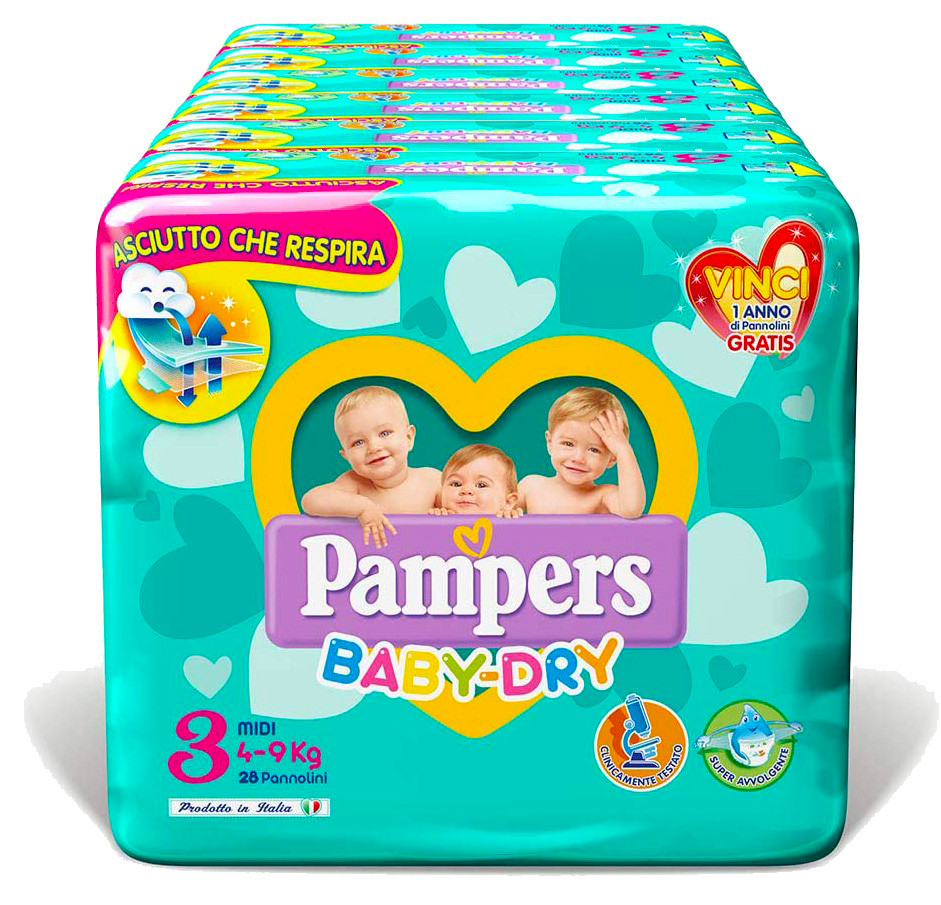 Pannolini Pampers Baby Dry Misura 3 - 120 pannolini