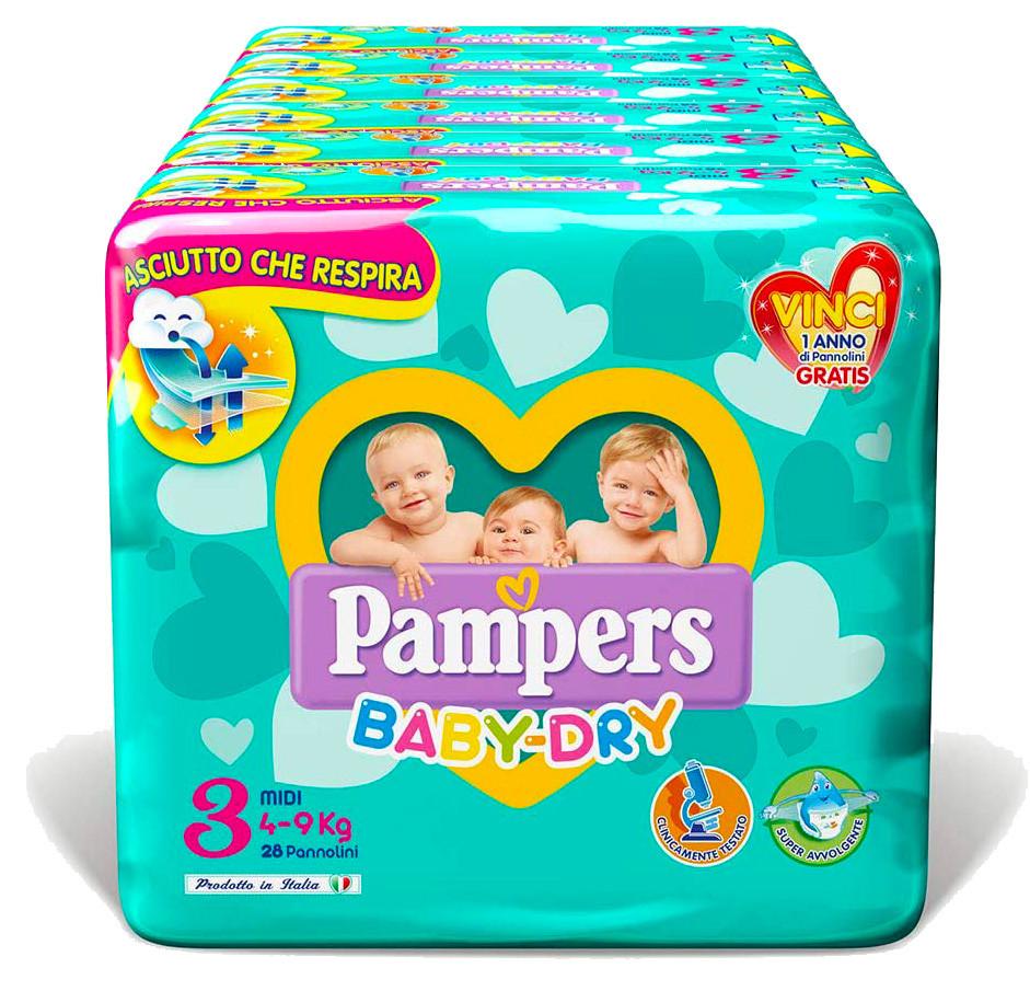 Pannolini Pampers Baby Dry Misura 3 - 200 pezzi