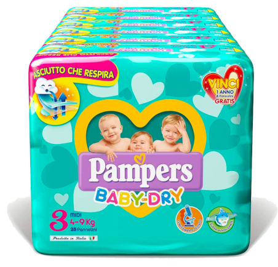 Pampers Windeln Baby Dry Größe 3 - 200 Stücke