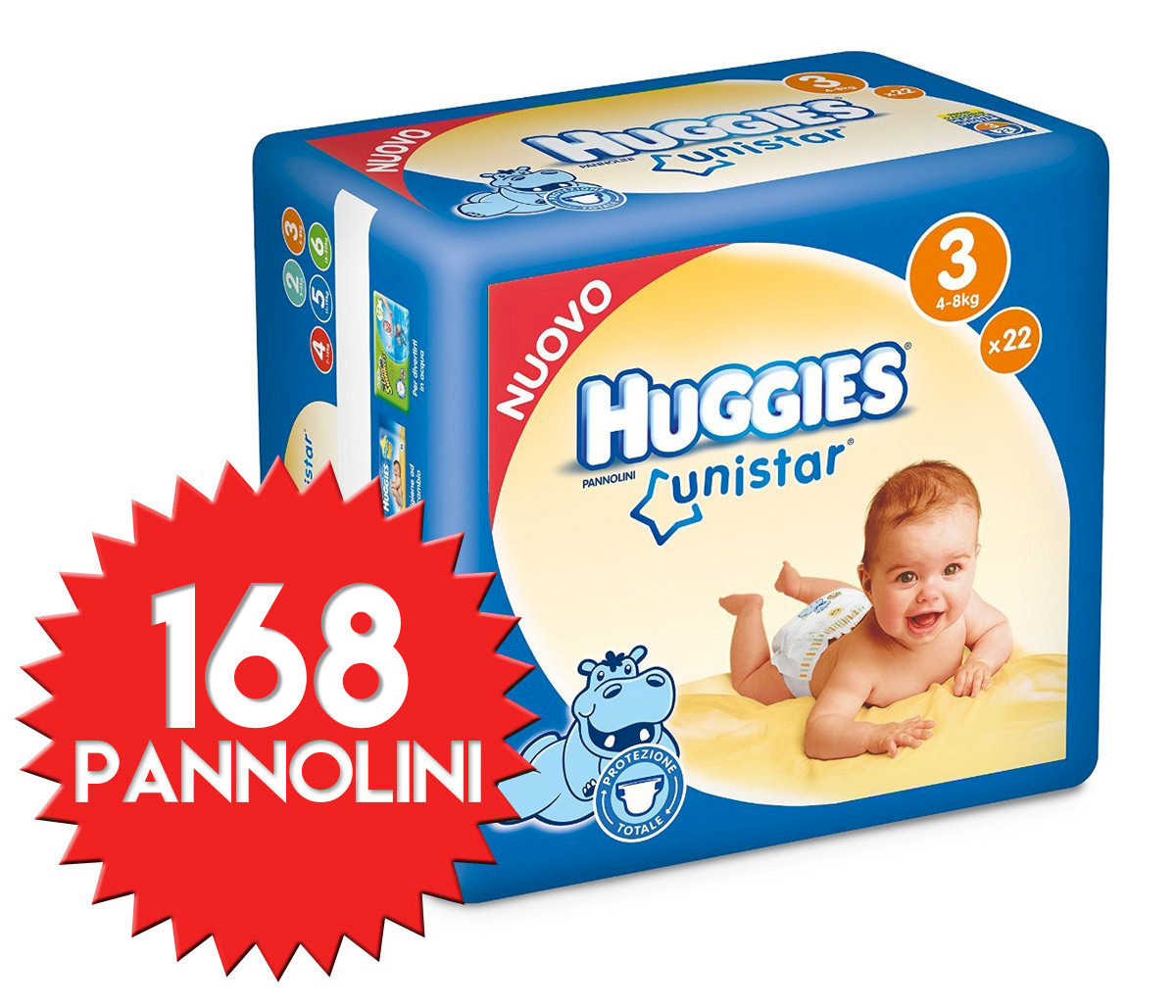 Pannolini Huggies Unistar Misura 3 - 168 pezzi