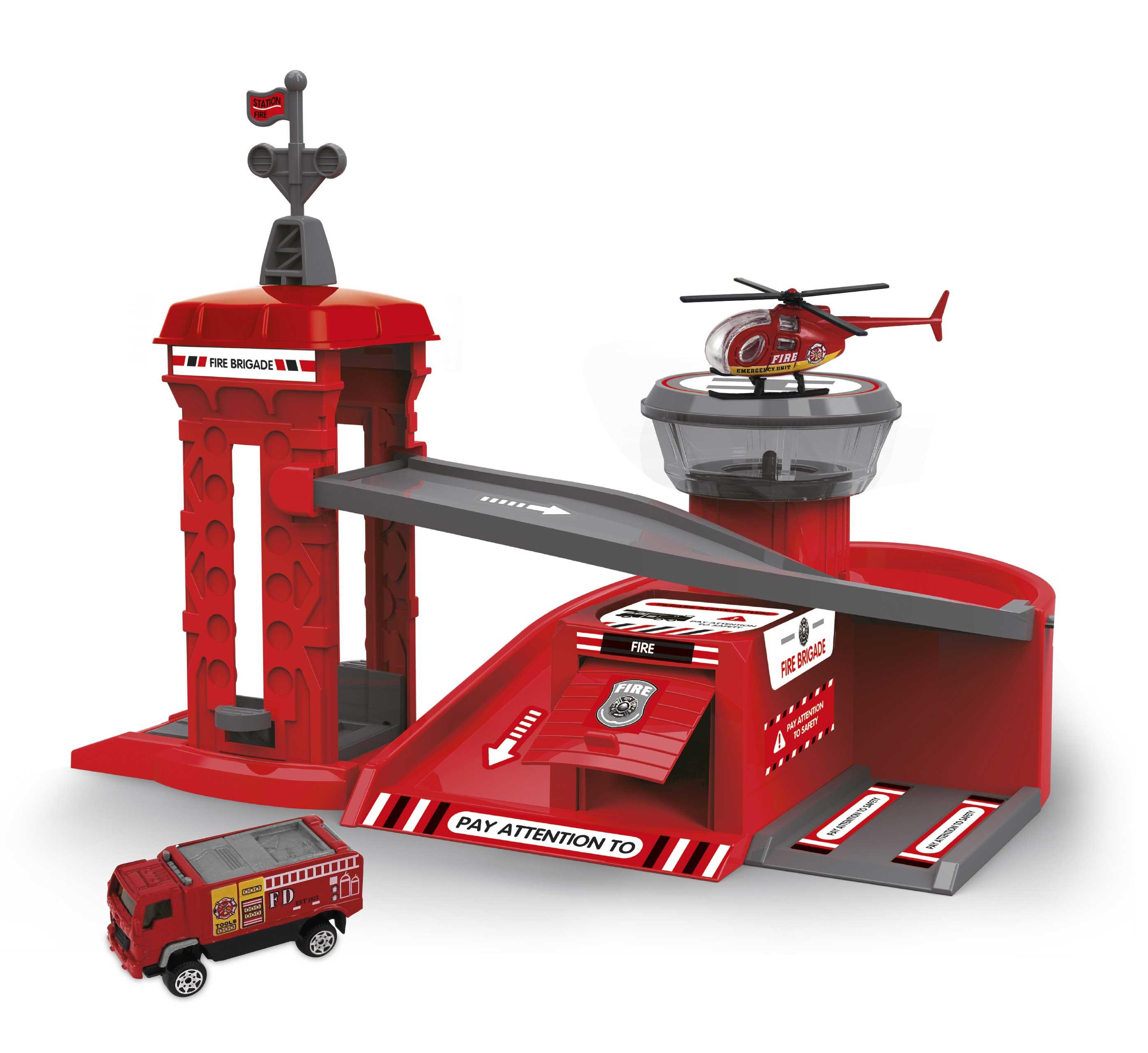 Playset Ville avec 2 Véhicules Caserne de Pompiers