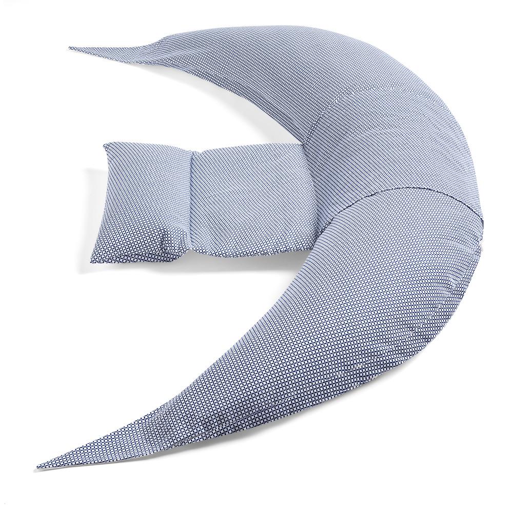 Cuscino Gravidanza e Allattamento Dreamwizard - Blu e Bianco