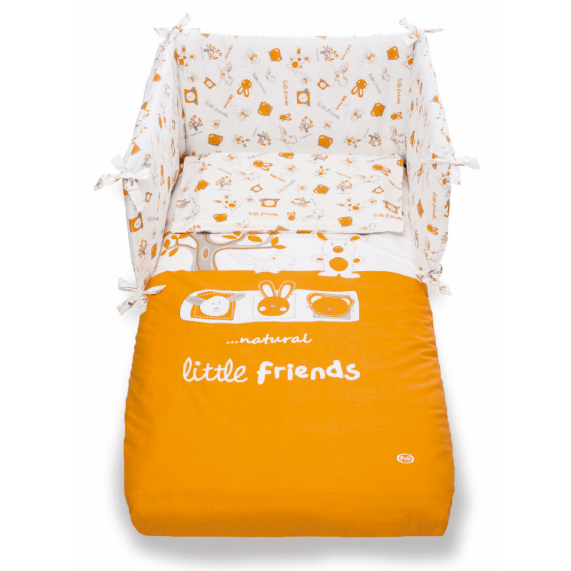 Completo Piumone Little Friends Pali Arancio