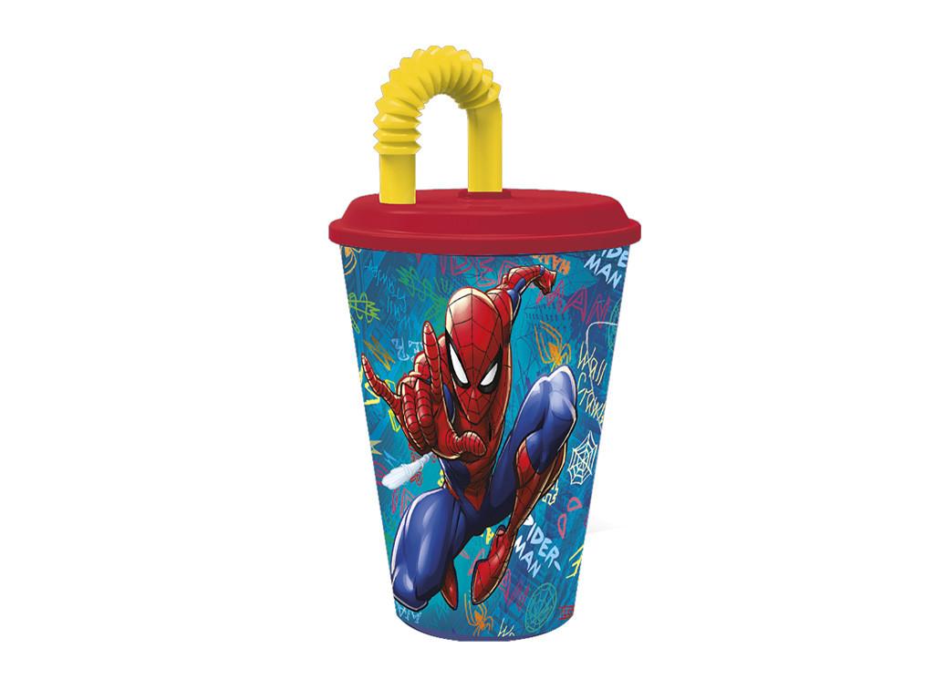 Bicchiere con Cannuccia Spiderman