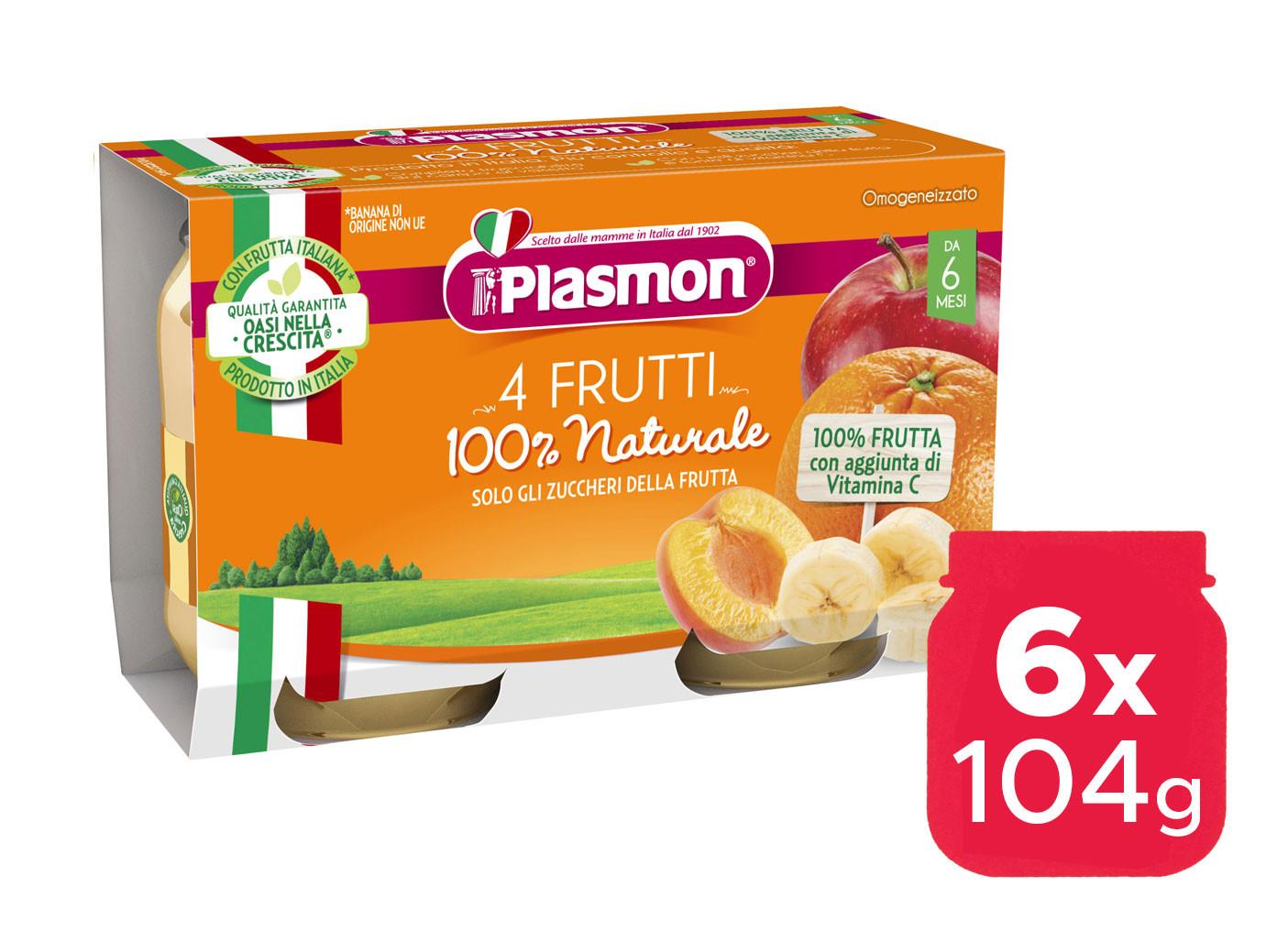 Omogeneizzato 4 Frutti Plasmon - 6 x 104 g