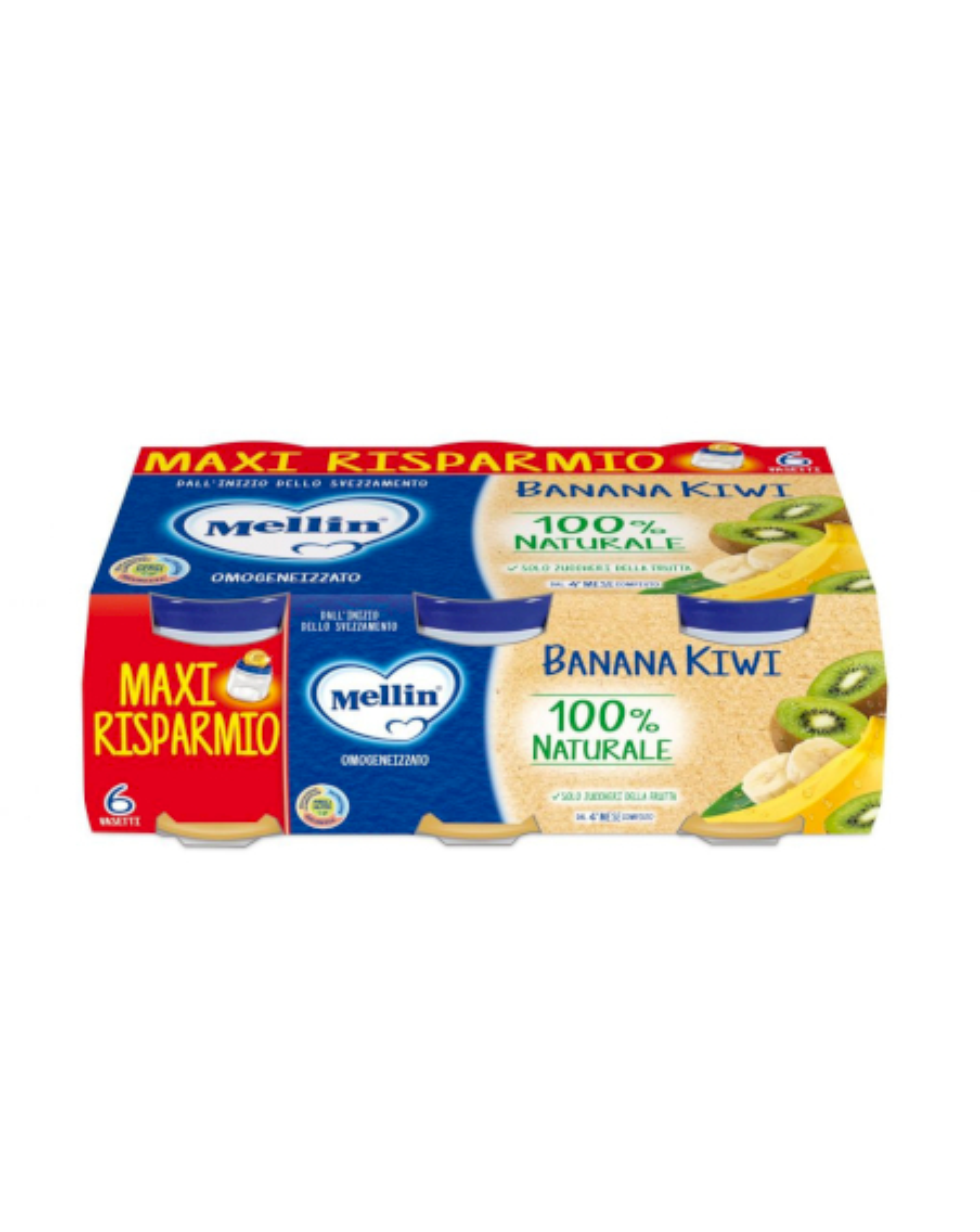 Omogeneizzato Banana Kiwi Mellin - 6 x 100 g