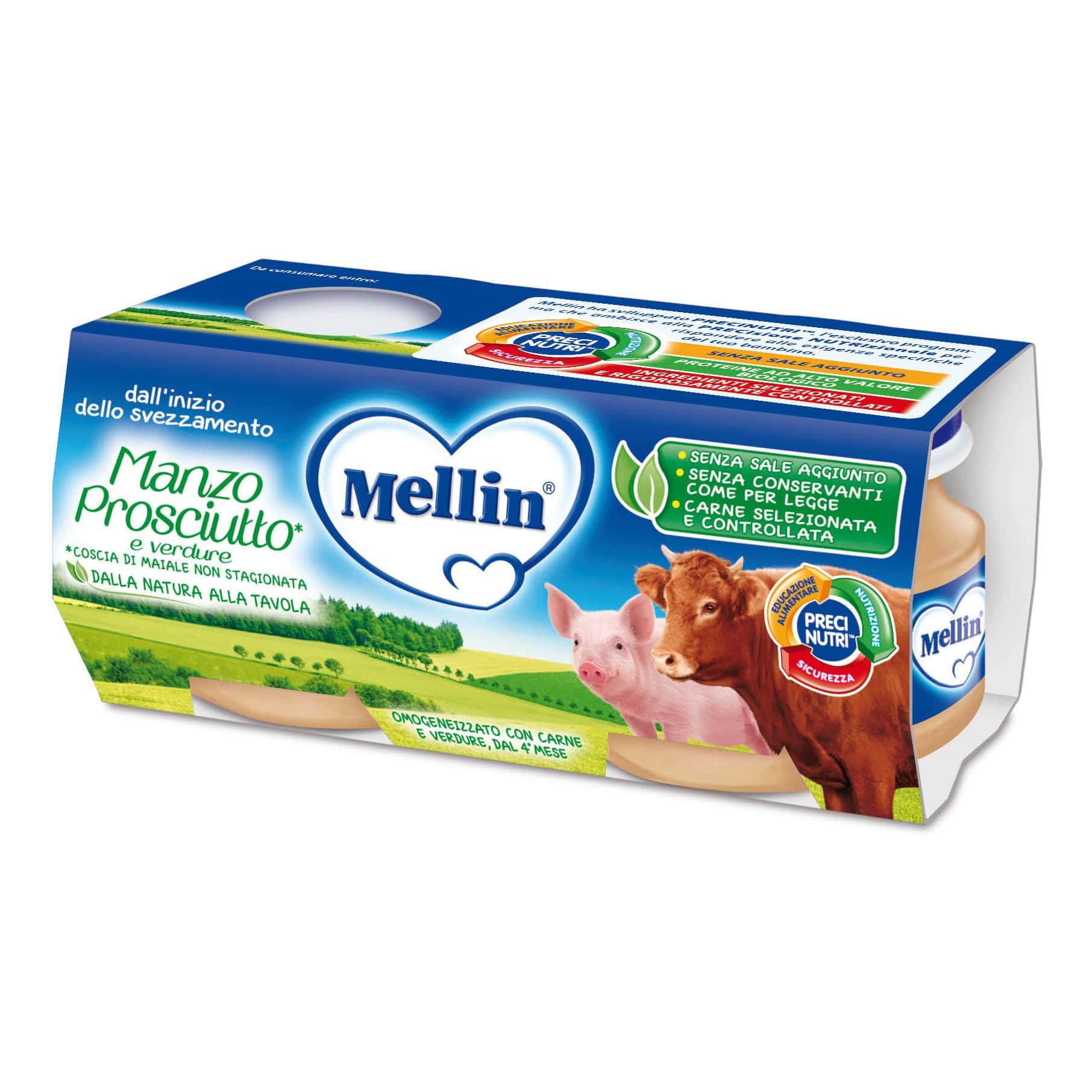 Omogeneizzato Manzo, Prosciutto e Verdure Mellin