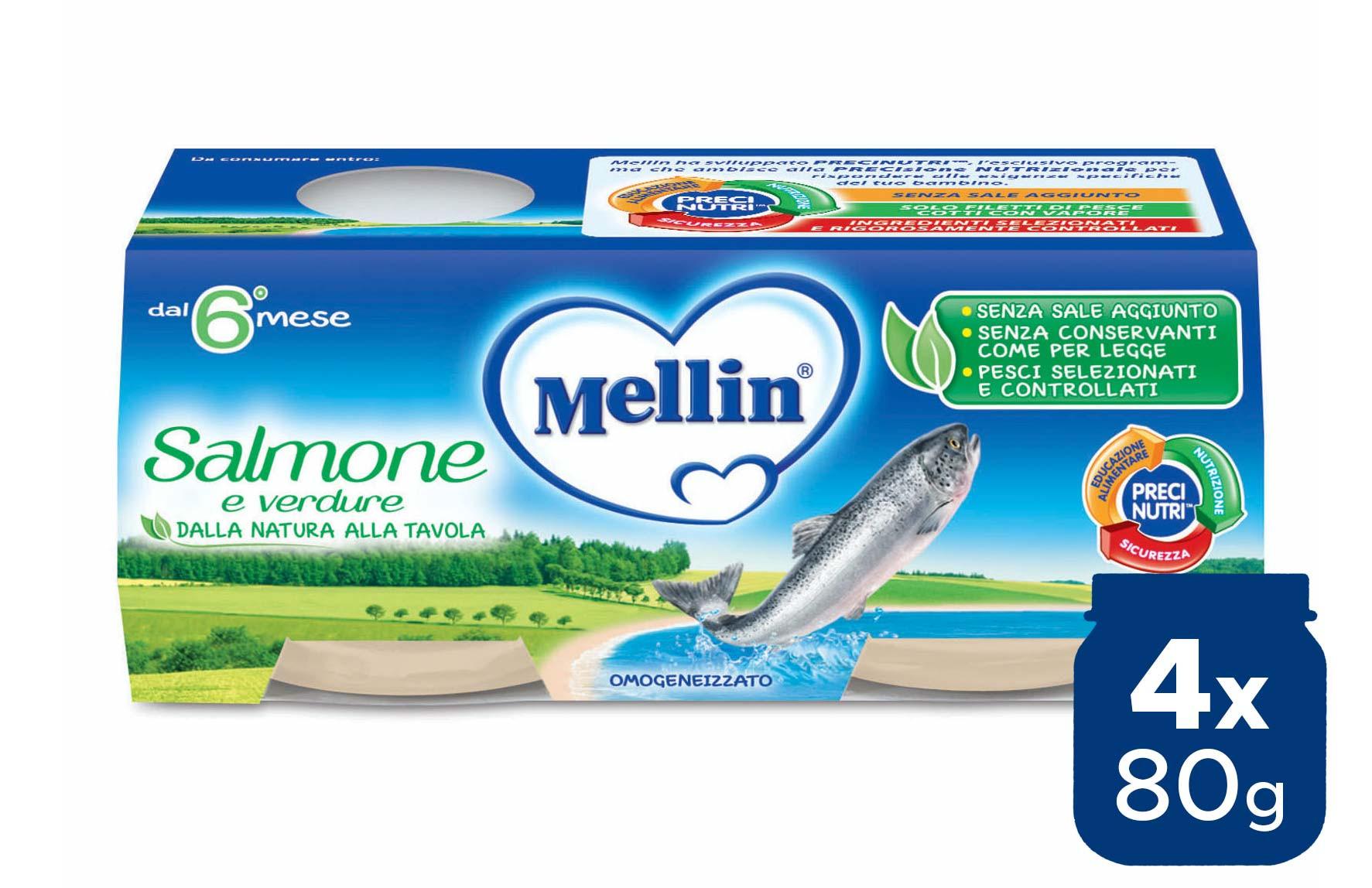 Omogeneizzato Salmone Mellin - 4 x 80 g