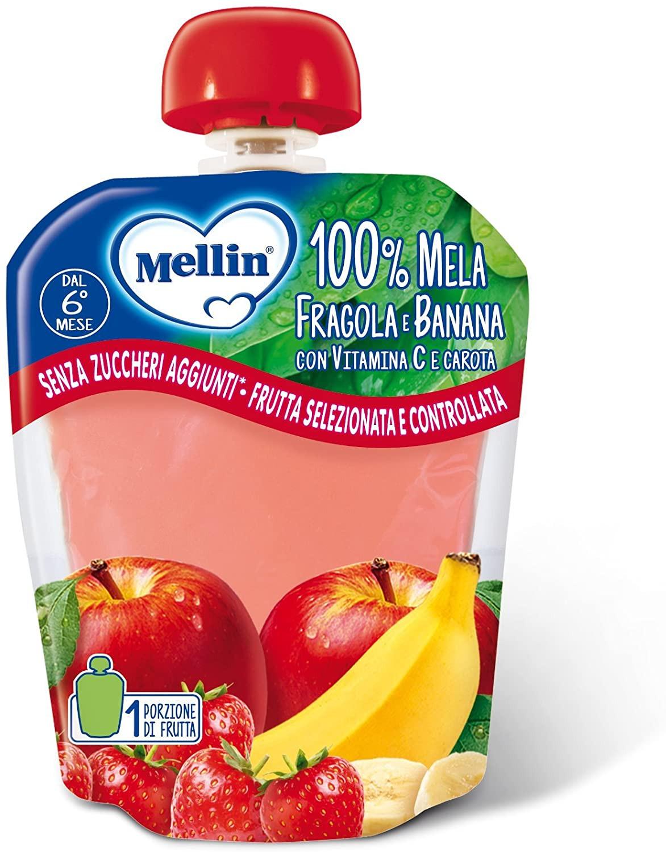 Merenda 100% Frutta Mellin - Fragola e Banana