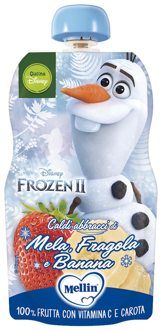 Merenda 100% Frutta Mellin con Frozen - Mela, Fragola e Banana