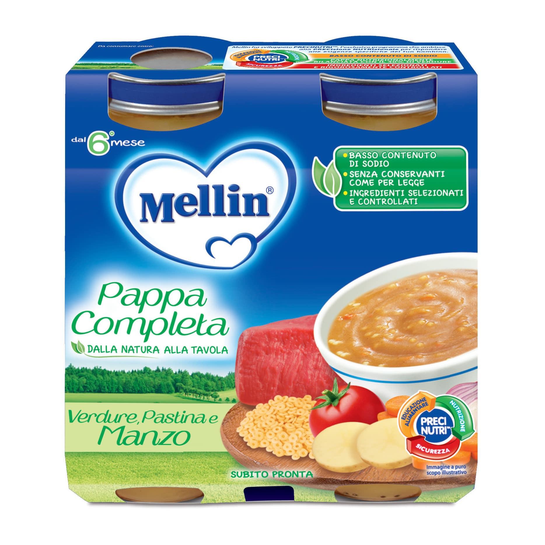 Pappa Completa Mellin - Verdure, Pastina e Manzo