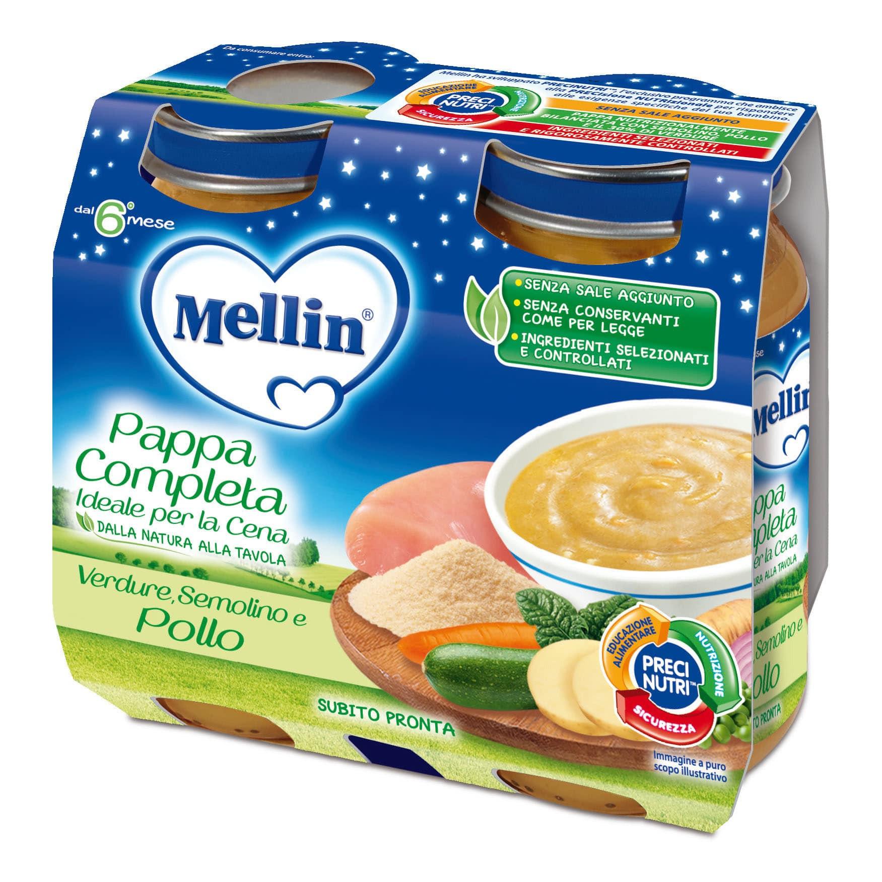 Pappa Completa Mellin - Verdure, Semolino e Pollo
