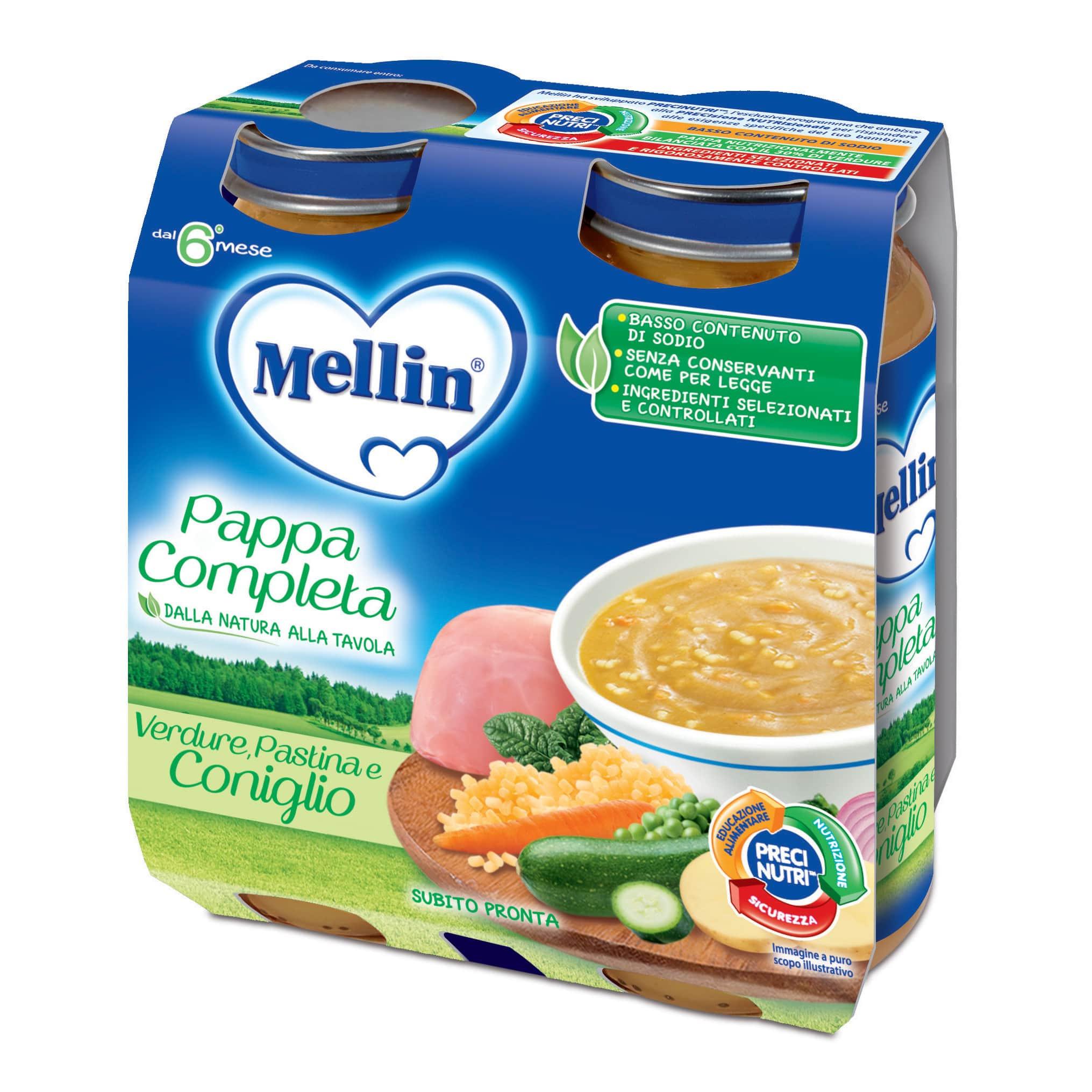 Pappa Completa Mellin - Verdure, Pastina e Coniglio