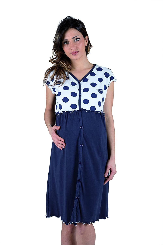 Chemise de Nuit à Pois Bleu - T6