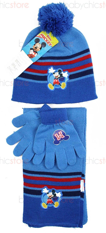 Mickey Mouse Schal, Mütze und Handschuhe Blue