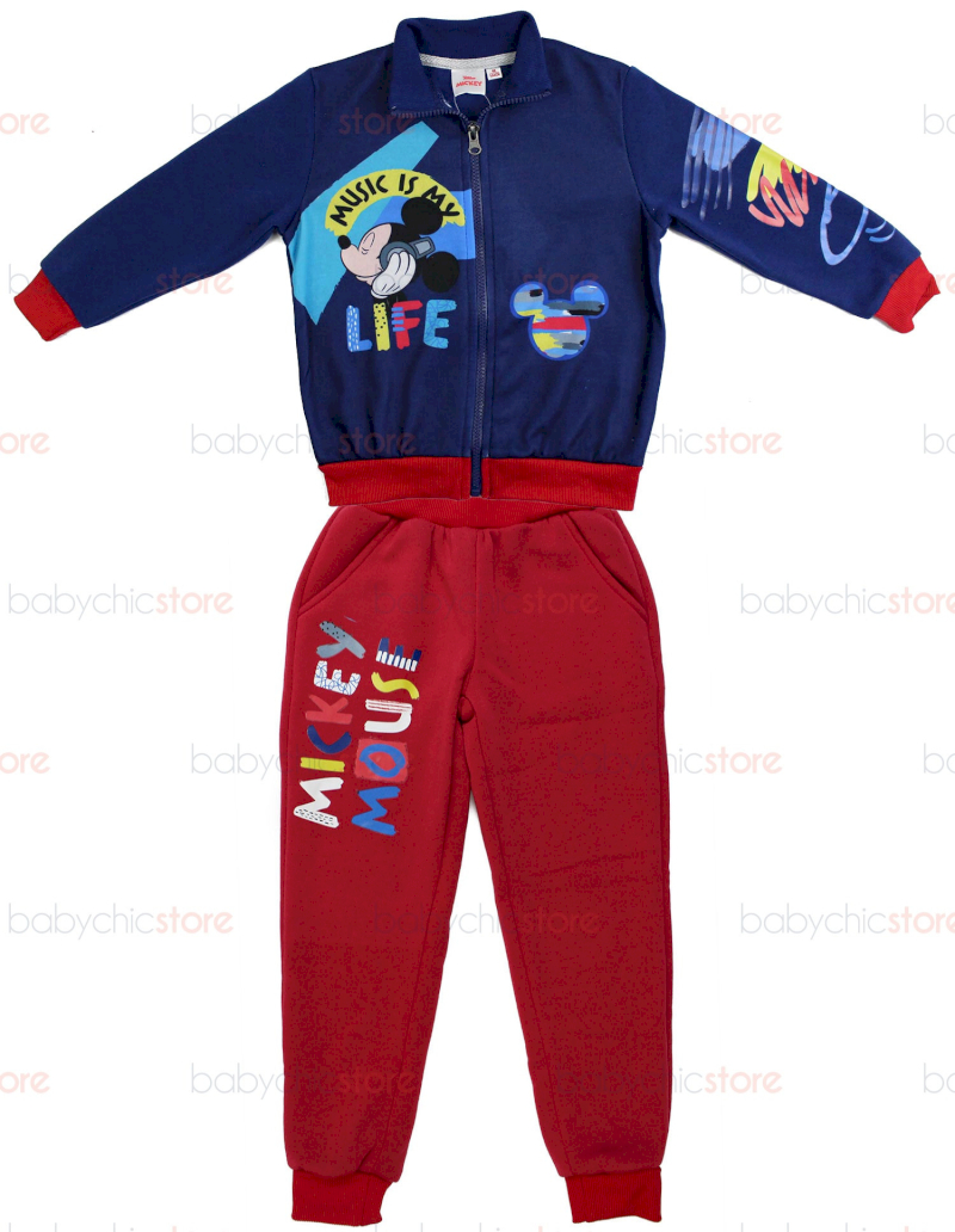 Jogging Set Mickey Mouse - Rosso/Blu - 5 Anni