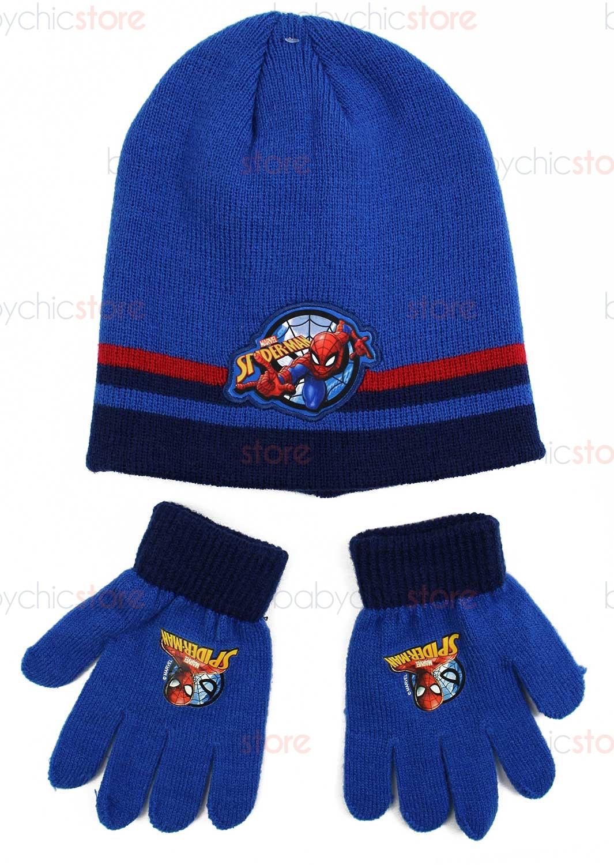 Spiderman Hut + Handschuhe-Set Blue
