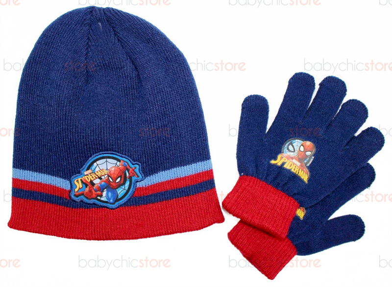 Conjunto de Sombrero y Guantes Spiderman Blue / Red