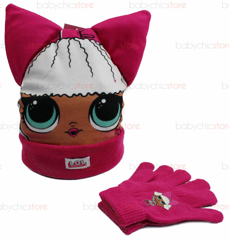 Hut mit Ohren + Handschuhen-Set LOL Pink