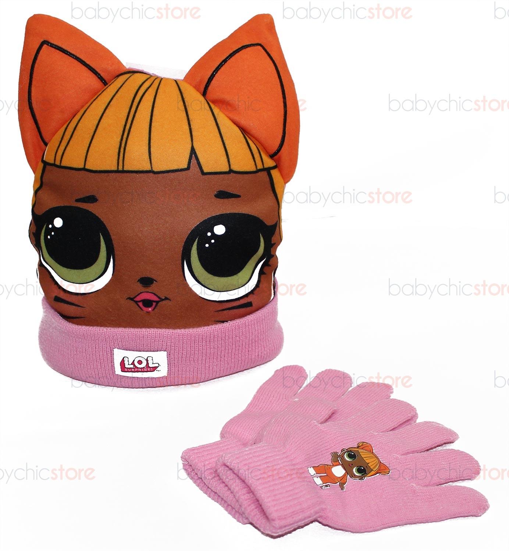 Hut mit Ohren + Handschuhen-Set LOL Orange