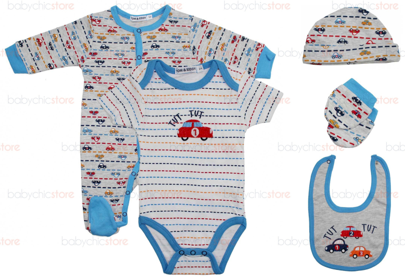 Set Completo Body e Tutina Car - 9 Mesi