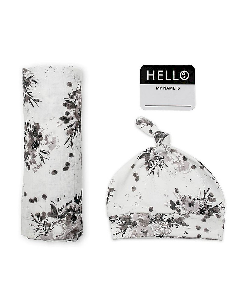 Set Hello World Lulujo Baby Black Floral