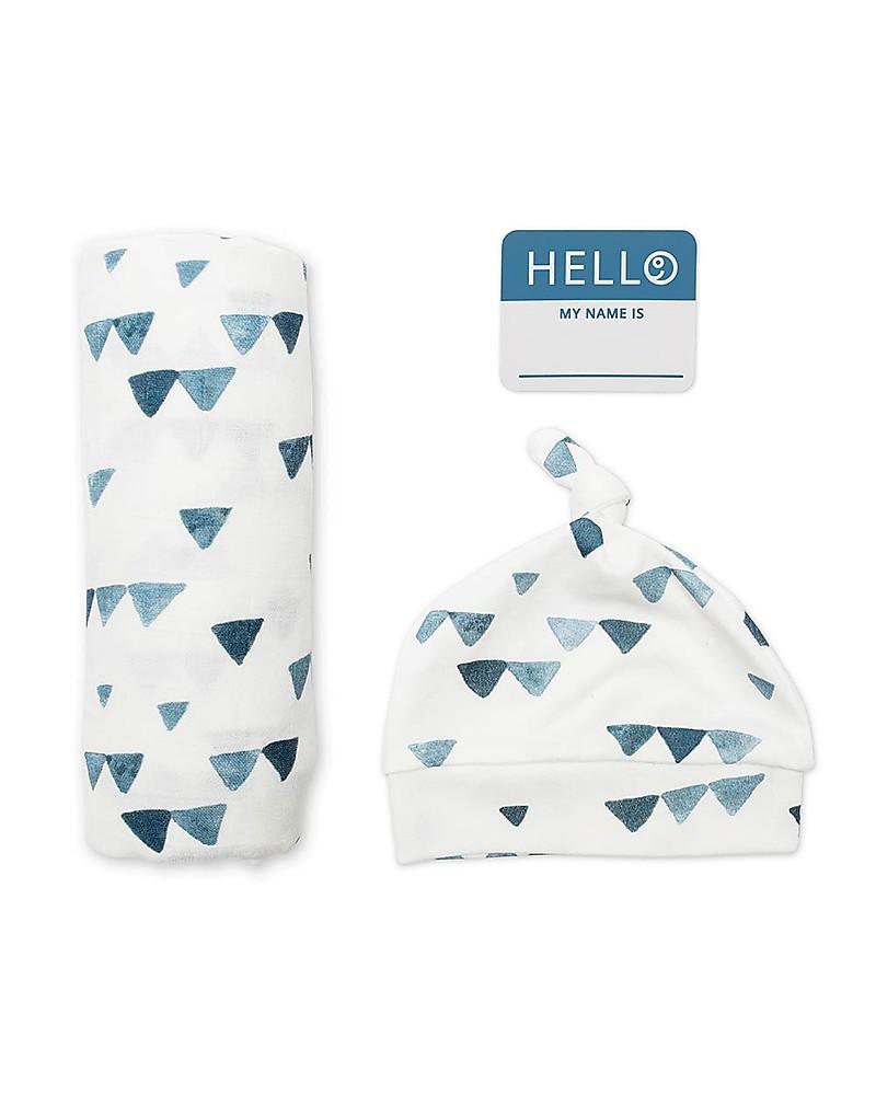 Set Hello World Lulujo Baby Blaue Dreiecke