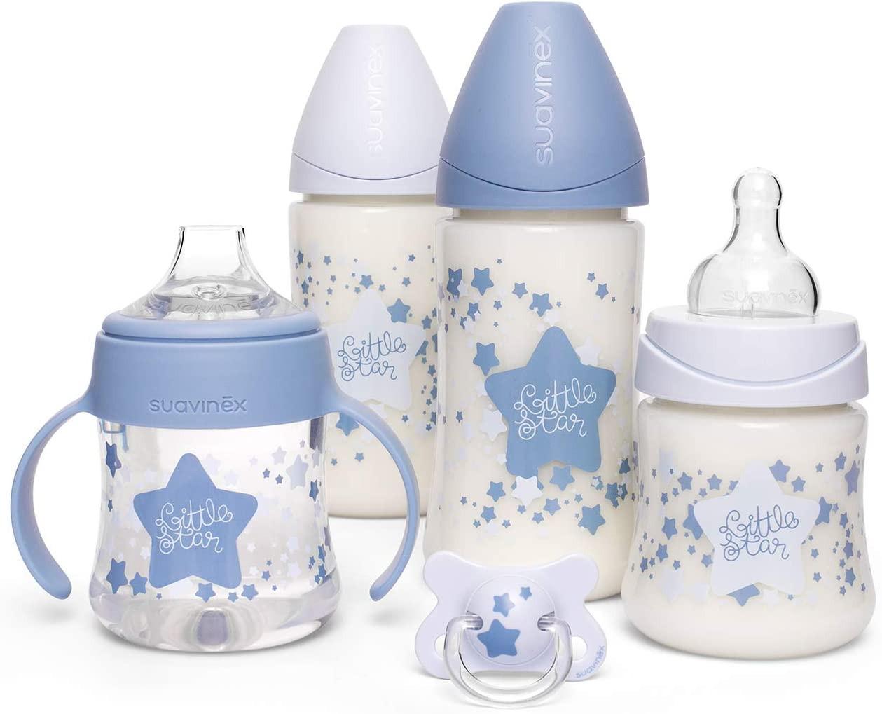 Set 4 Biberon + Ciuccio Suavinex Little Star - Azzurro