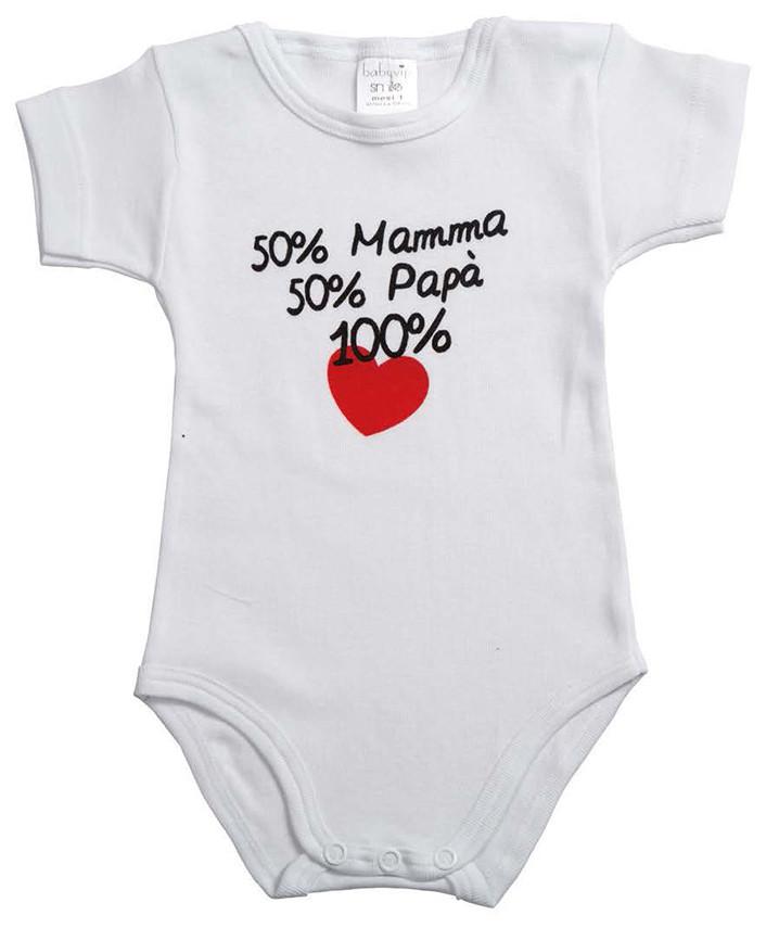 Body Mezza Manica 50% Mamma e 50% Papà - 1 Mese