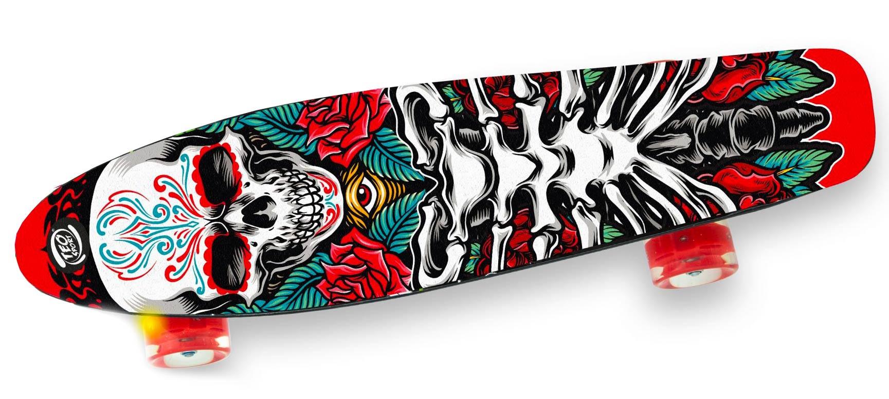 Skateboard Con Ruote Led - Teschio