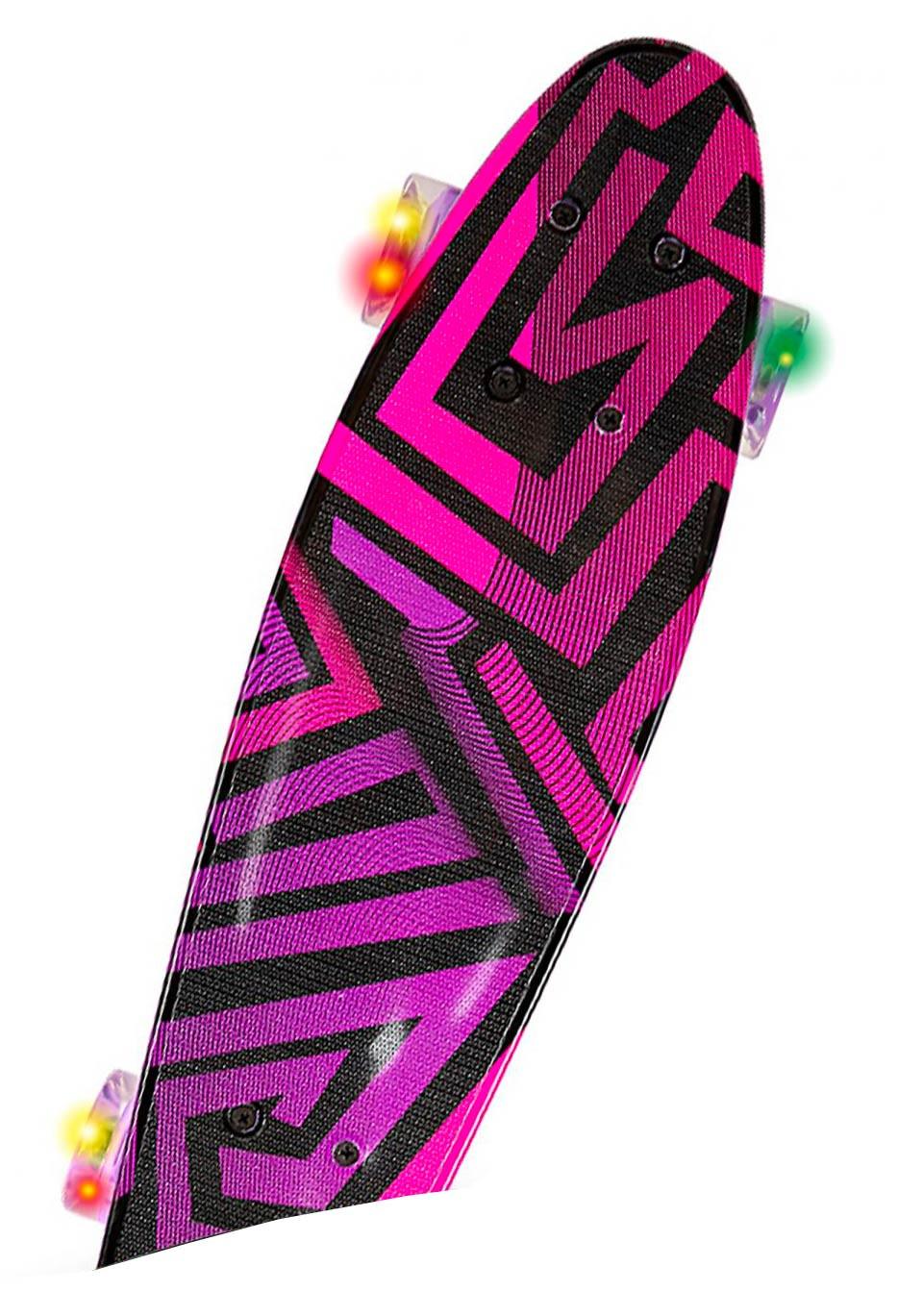 Skateboard Con Ruote Led - Rosa