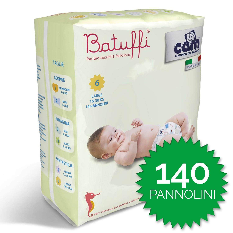 Cam Pañales Batuffi Talla 6 - 140 piezas