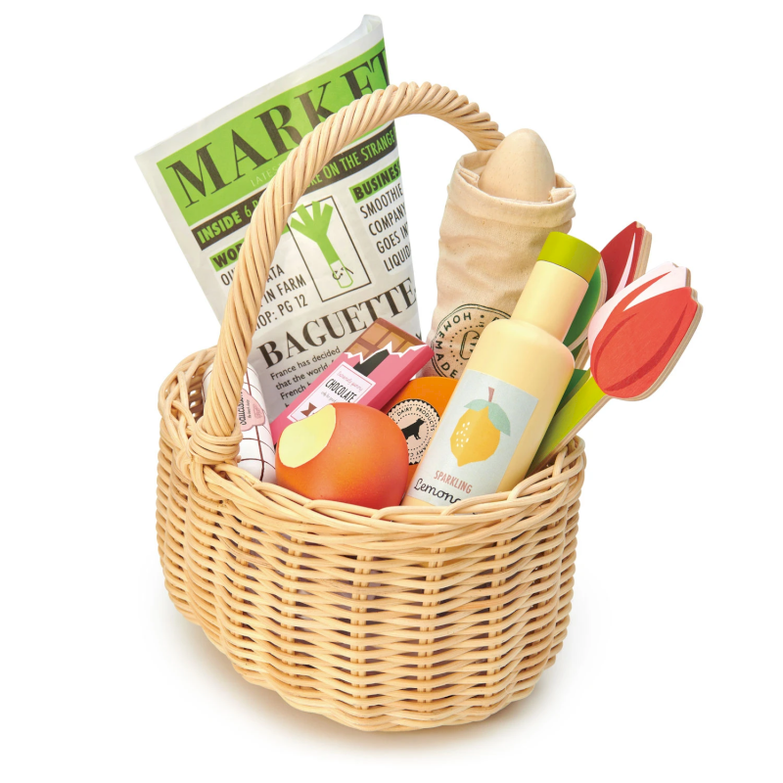 Alimentos de juguete Tender Leaf Toys Wicker Shopping Basket