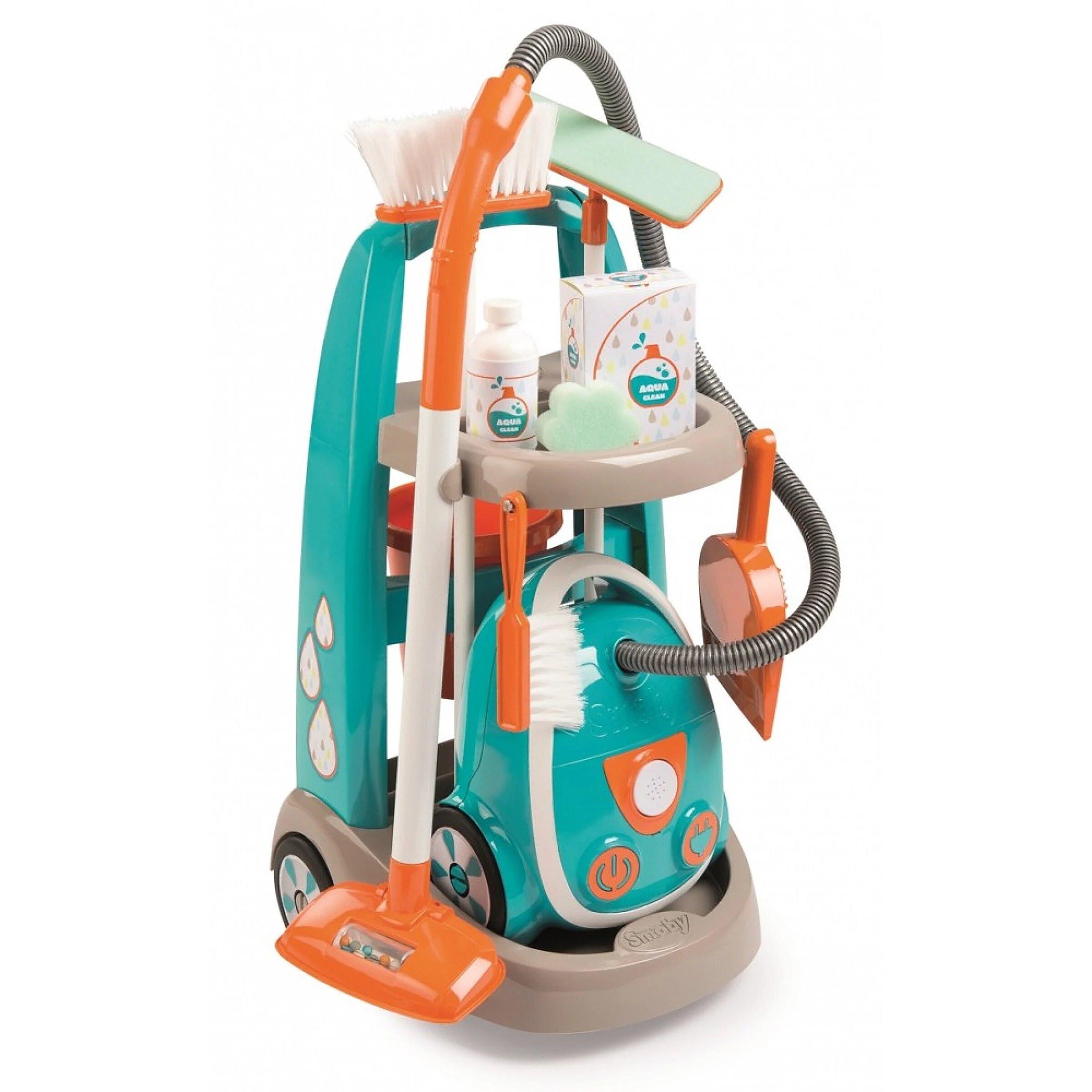 Smoby - Carro de limpieza con aspiradora