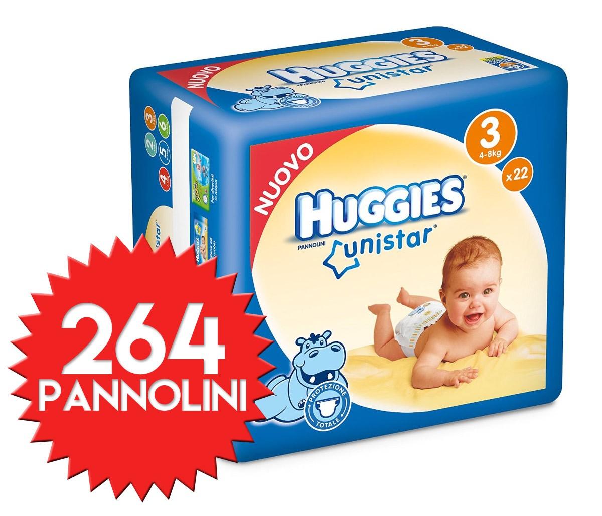 Pannolini Huggies Unistar Misura 3 - 264 pezzi