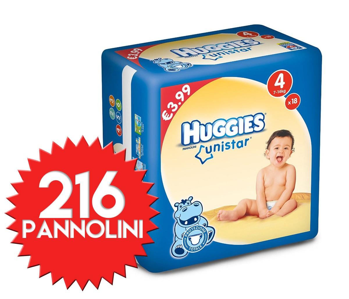 Pannolini Huggies Unistar Misura 4 - 216 pezzi