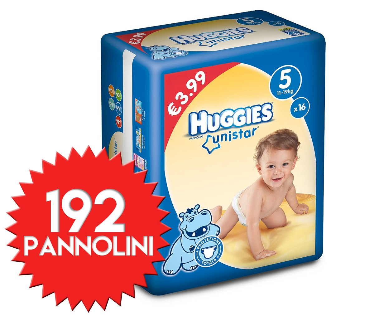 Pannolini Huggies Unistar Misura 5 - 192 pezzi